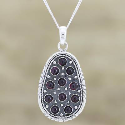Garnet pendant necklace, 'Pomegranate Passion' - Oxidized Sterling Silver Pendant with Round Garnet Cabochons