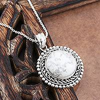 Howlite pendant necklace, 'Full Frost Moon' - Howlite and Sterling Silver Pendant Necklace