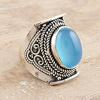 Chalcedony cocktail ring, 'Placid' - Bezel Set Blue Chalcedony Cabochon Cocktail Ring