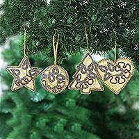 Beaded satin ornaments, 'Festive Celebrations' (set of 4) - Beaded and Embroidered Christmas Ornaments (Set of 4)