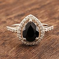 Spinel cocktail ring, 'Magic at Midnight' - Black Spinel and Cubic Zirconia Cocktail Ring
