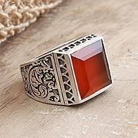 Men's onyx ring, 'Fiery Style' - Men's Hand Crafted Sterling Silver and Red Onyx Ring