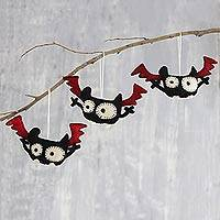 Wool felt ornaments, 'Mystic Bats' (set of 3) - Handmade Halloween Bat Ornaments (Set of 3)