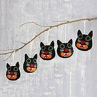 Wool felt ornaments, 'Black Cats' (set of 5) - Hand Crafted Black Cat Wool Felt Ornaments (Set of 5)