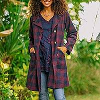 Wool-blend car coat, 'Jaipur Classic' - Wine and Navy Check Wool Blend Car Coat