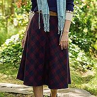 Wool blend skirt, 'Jaipur Chic in Plaid' - Hand Made Wool Blend Plaid Skirt