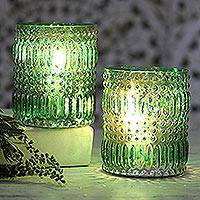Glass votive candle holders, 'Majestic Glow in Green' (pair) - Pair of Turquoise Molded Glass Votives