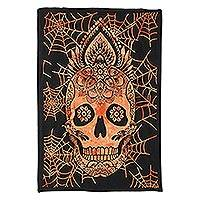 Cotton wall hanging, 'Flaming Skull' - India Black & Orange Cotton Silk Screen Skull Wall Hanging