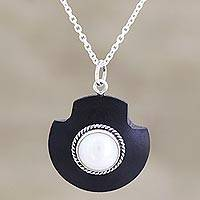 Cultured freshwater pearl pendant necklace, 'Glowing Orb' - Handmade Sterling Silver and Cultured Pearl Pendant Necklace