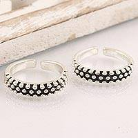 Sterling silver toe rings, 'Perfect Pair' (pair) - Hand Crafted Sterling Silver Toe Rings from India (Pair)