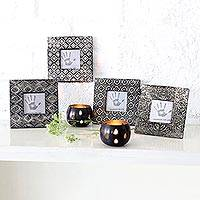Aluminum photo frames, 'Assorted Beauty' (3x3, set of 4) - Embossed Aluminum Photo Frames (3x3, Set of 4)