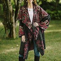 Cotton blend jacquard knit sweater coat, 'Flower Days' - Knit Floral Cotton Blend Women's Coat from India