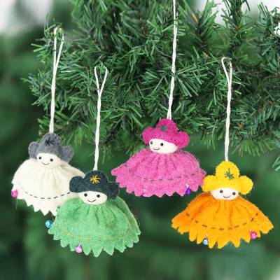 Wool felt ornaments, 'Holiday Dolls' (set of 4) - Wool Felt Doll Christmas Ornaments (Set of 4)