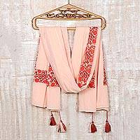 Cotton shawl, 'Cherry Flowers' - Screen Printed Cotton Shawl from India