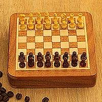 Wood travel chess set, 'Traveling with Royalty' - Hand Carved Wood Mini Travel Chess Set