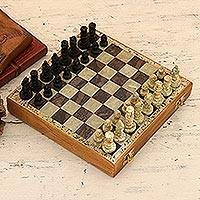 Soapstone chess set, 'Mughal Leisure' - Hand Carved Soapstone Chess Set