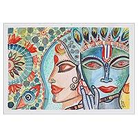 'Radha-Krishna' - Krishna and Radha Watercolor Painting on Handmade Paper