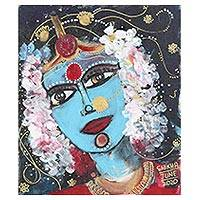'Parvati as a Bride' - Goddess Parvati Acrylic Painting on Canvas Board