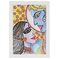 'Eternal Union' - Rama and Sita Watercolor Painting on Handmade Paper