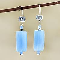 Chalcedony and blue topaz dangle earrings, 'Sky Queen' - Handmade Chalcedony and Blue Topaz Dangle Earrings