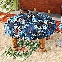Upholstered ottoman foot stool, 'Flower Majesty' - TIe-Dyed Floral Ottoman with Wood Legs
