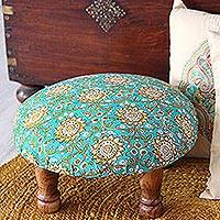 Upholstered ottoman foot stool, 'Mughal Architecture' - Floral Motif Ottoman with Wood Legs