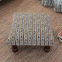 Upholstered ottoman foot stool, 'Flower Blast' - Floral Stripe Motif Ottoman with Wood Legs
