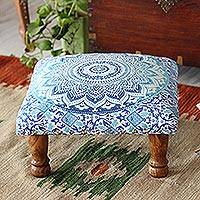 Upholstered ottoman foot stool, 'Blue Magnificence' - Blue and Purple Mandala Motif Ottoman with Wood Legs