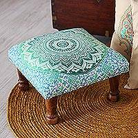 Upholstered ottoman foot stool, 'Green Magnificence' - Green Mandala Motif Ottoman with Wood Legs