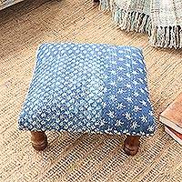 Upholstered ottoman foot stool, 'Blue Fantasy' - Blue Patchwork Motif Ottoman with Wood Legs