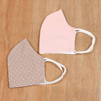 Cotton face masks, 'Subtle Dots' (pair) - Polka Dotted Three Layer Cotton Face Masks (Pair)