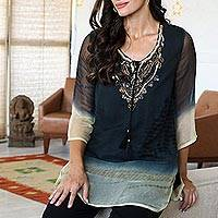 Beaded tie-dyed viscose tunic, 'Magical Glamour' - Tie-Dyed Viscose Tunic with Glass Bead Detail