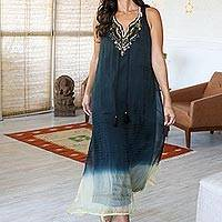 Beaded tie-dyed viscose sleeveless dress, 'Magical Glamour' - Tie-Dyed Viscose Sleeveless Sundress with Glass Bead Detail