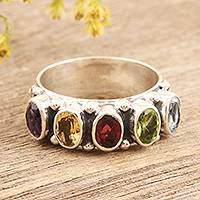 Multi-gemstone cocktail ring, 'Rainbow Beauty' - Faceted Multi Gemstone Sterling Silver Cocktail Ring