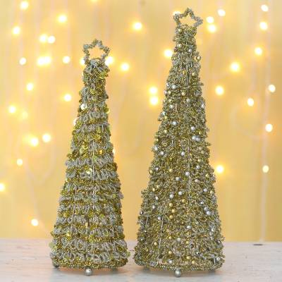 Glass beaded holiday decor, 'Sparkling Glow' (pair) - Glass Beaded Christmas Tree Holiday Decor (Pair)