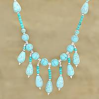 Calcite waterfall necklace, 'Blue Rapids' - Calcite Gemstone Beaded Waterfall Necklace from India