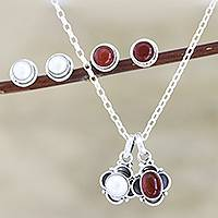 Cultured pearl and carnelian jewelry set, 'Light and Fire' - Hand Crafted Carnelian and Cultured Pearl Jewelry Set