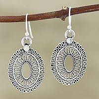 Sterling silver dangle earrings, 'Learning Curve' - Hand Crafted Sterling Silver Dangle Earrings from India
