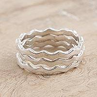Sterling silver stacking rings, 'Third Wave' (set of 3) - Hand Crafted Sterling Silver Stacking Rings (Set of 3)