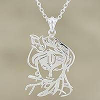 Sterling silver pendant necklace, 'Krishna's Melody' - Handmade Sterling Silver Krishna Pendant Necklace