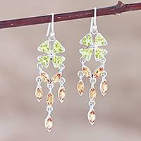 Peridot and citrine dangle earrings, 'Chandelier in Green' - Handmade Peridot and Citrine Dangle Earrings from India