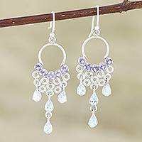 Iolite and blue topaz dangle earrings, 'Spring Haze in Blue' - Handmade Iolite and Blue Topaz Dangle Earrings from India