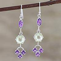 Amethyst and lemon quartz dangle earrings, 'New Dream in Purple' - Amethyst and Lemon Quartz Dangle Earrings from India