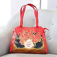 Hand painted leather shoulder bag, 'Fiery Romance' - Hand Painted Floral Leather Shoulder Bag from India