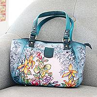 Hand painted leather shoulder bag, 'Floral Enigma' - Artisan Crafted Floral-Themed Leather Shoulder Bag