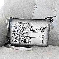 Hand painted leather sling bag, 'Spring Sonata' - Hand Painted Black and White Leather Sling Bag