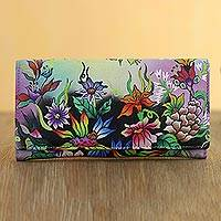 Hand painted leather wallet, 'Floral Obsession' - Hand Made Leather Floral Wallet from India