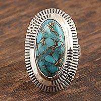 Sterling silver cocktail ring, 'Radiating Blue' - Hand Made Sterling Silver Cocktail Ring from India