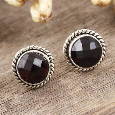Garnet stud earrings, 'Checkerboard in Red' - Checkerboard Faceted Garnet Stud Earrings