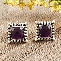 Amethyst stud earrings, 'Picture Perfect in Purple' - Checkerboard Faceted Amethyst Sterling Silver Stud Earrings